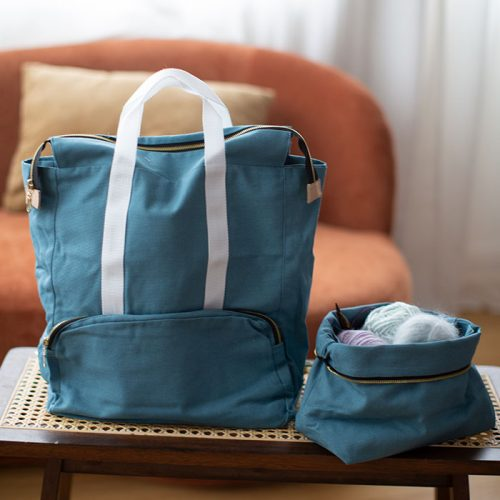 project backpack in dusty blue from plystre