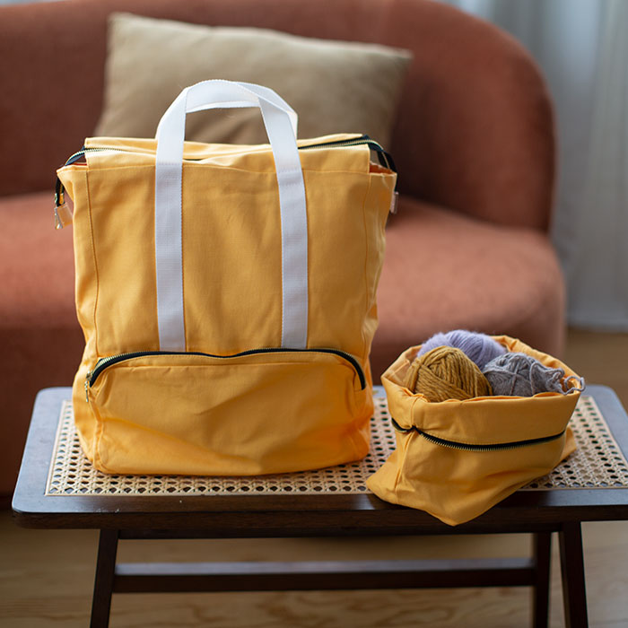 knitters backpack in golden yellow from plystre