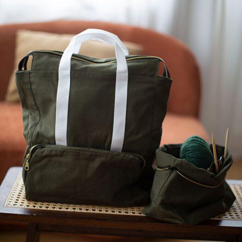 organiser strikketøyet med vår trendy prosjektsekk