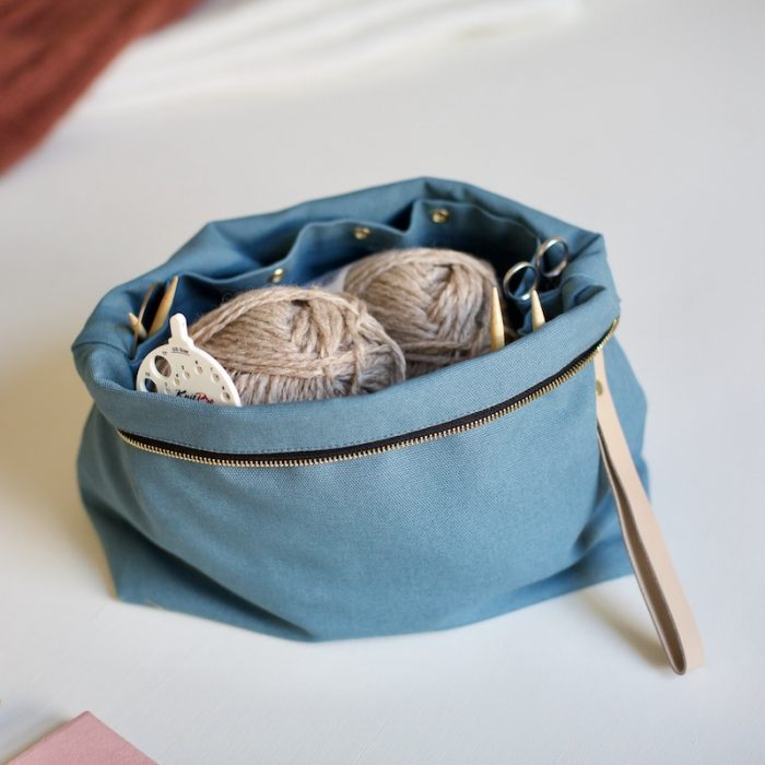 knitters collection, project pouch in dusty blue