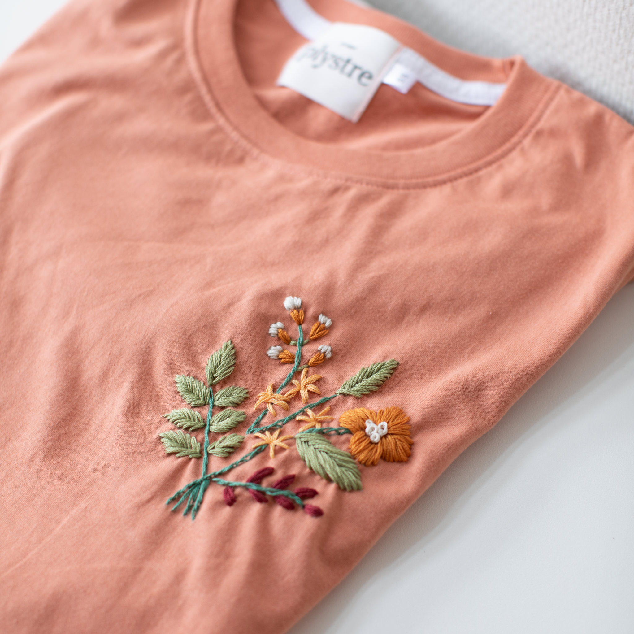 embroidery flowers wildflower t-shirt kit