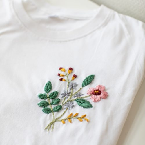 embroidery flower kit - white t-shirt with wildflower