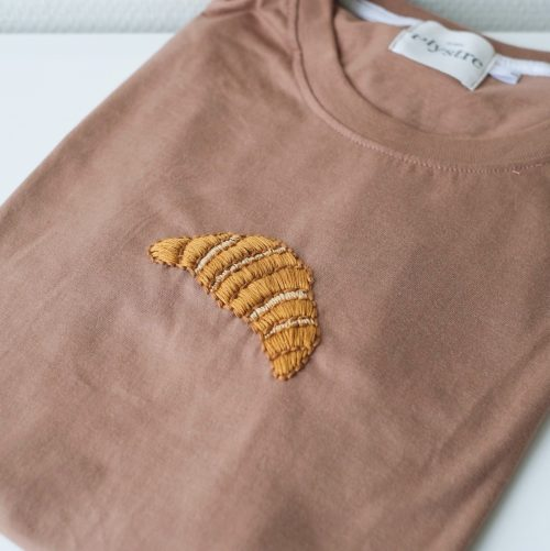 embroidery kits croissant t-shirt